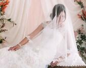 2 Tier Drop Veil, Bridal Veil with Lace, Lace Wedding Veil, Lace Bridal Veil, Drop Bridal Veil