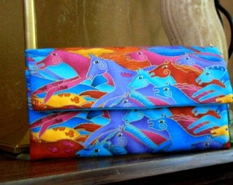 Wild Horses in Blue Wallet / Wristlet / Clutch / Key Fob / Cell phone / Check Book / Money / Credit Card / Coin / Laurel Burch Fabric