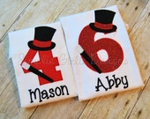 Custom personalized magician birthday shirt. Sizes 12m  and up. Other colors and fabrics available.