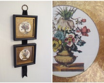 Vintage Floral Frames on Black Velvet Ribbon Wall Hanging Gold Black Flower Vases Square Collage Wall Decor Shabby Chic Country Living