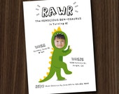 Dinosaur Invite, Dinosaur Invitation Printable, Custom Photo Face Invitation, 5x7 DIY Invitation by MayDetails