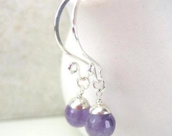 Amethyst Earring Charms, Sterling Silver Purple Gemstone Charm Earrings, Interchangeable, February