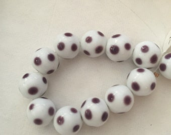 Glass Beads-White with Purple Dots
