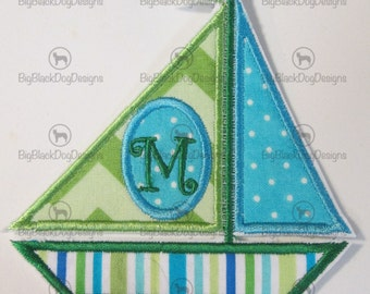 Iron On Applique - Sailboat with Embroidered Initial