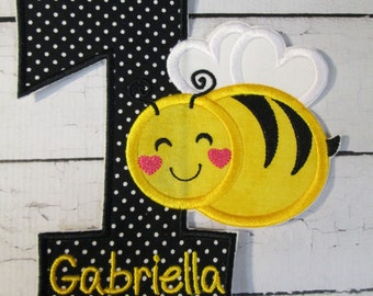 Iron On Applique - Bumble Bee Themed Birthday - All Numbers Now Available