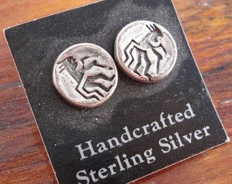 Vintage Sterling Silver Kokopelli Stud Earrings for Her Southwest Flute Player