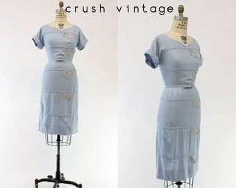 40s Wiggle Dress Small / 1940s Vintage Cut Out Blue Linen Dress / Rue Charlemagne Dress