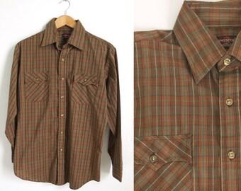 Men's Size M Vintage 80s Kingsport Plaid Button Down Shirt // medium 1980s