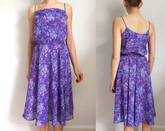 Vintage Floral Print Purple Dress XS by Jody California // vintage 70s 80s sundress 1970s 1980s teal blue pink extra small // sleeveless