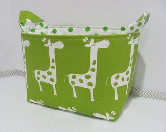 LARGE Fabric Basket - Organizer Bin - Nursery Decor - Storage Bucket - Storage Basket - Diaper Holder - Toy Bin - Kids Room - Green Giraffe