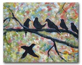 Modern Birds Painting 24x30 Fine Art Acrylic on Canvas Sunrise Singers Contemporary black birds on branches pastel colors large format art