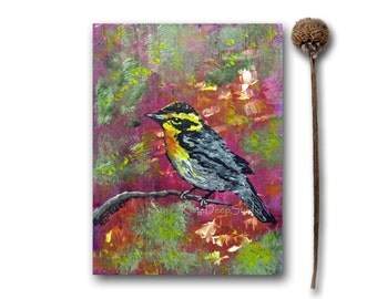 Small Bird Painting Spring Warbler Fine Art Acrylic on Wood Songbird Miniature Art bright colorful original contemporary mini art gift