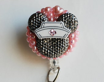Minnie Mouse Nurse Dark Silver Glittery Silhouette ID Badge Reel - Retractable ID Badge Holder - Zipperedheart