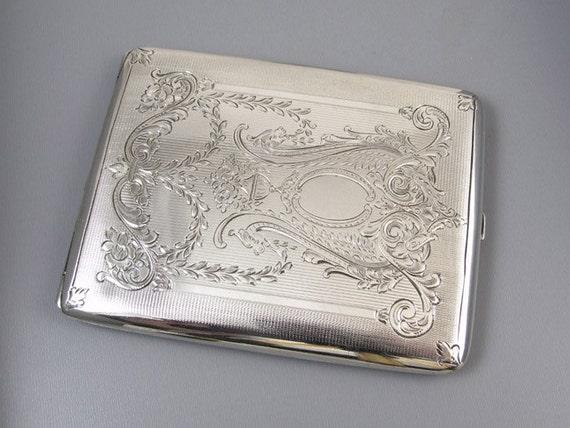 Cigarette case sterling silver 4.2 ounce Edwardian signed Meriden m108E&C