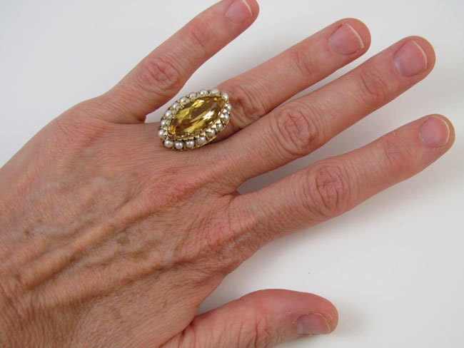 Stunning hand crafted antique Edwardian 14k gold marquise cut navette 6 carat citrine and seed pearl ring