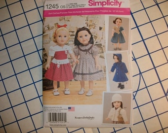 Simplicity 1245 Vintage Look dresses and coats for 18 inch dolls
