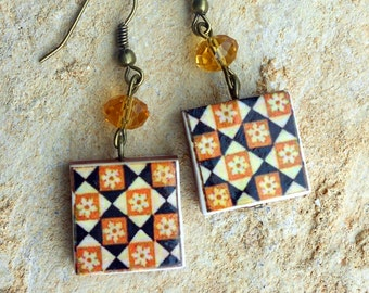 Portugal Antique Azulejo Tile Replica Earrings from OVAR Portugal - Orange Geometric (see photo)  WATERPROOF and Reversible 624