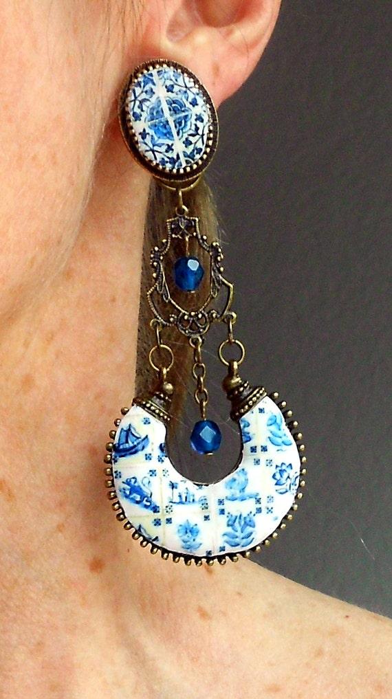 Portugal Antique Azulejo Tile Replica CLIP ON CHANDELIER Earrings - Lisbon Delft Blue 1837 Pasteis de Belem and Tomar Cloister 16th century