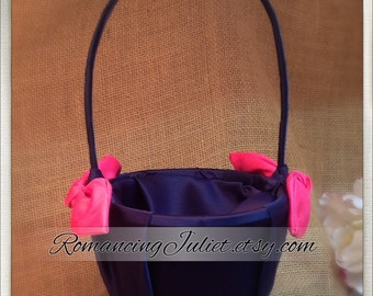 Knottie Satin Flower Girl Basket..Many Colors Available..BOGO Half Off..shown in navy blue/hot pink fuschia