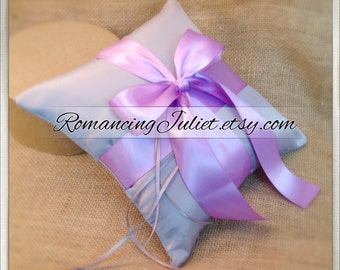 Romantic Satin Ring Bearer Pillow...You Choose the Colors...Buy One Get One Half Off...shown in silver gray/lilac