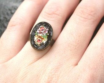 R13 Vintage Micro Mosaic Flower ITALY Upcycled Cocktail Ring Bridesmaid Gift