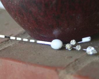 Vintage Upcycled Milk Glass Clear Rhinestone Wedding Bridal Hair Pin