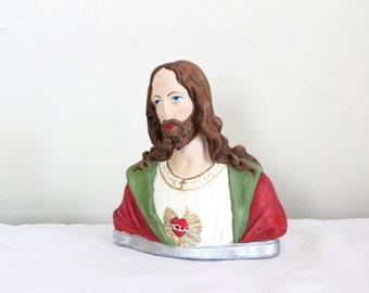 Vintage Sacred Heart Jesus Bust/Easter Decor