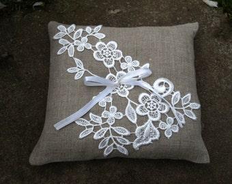 Natural Grey Linen Wedding Pillow With Flower Lace - Ring Bearer Pillow - Wedding Ring Pillow