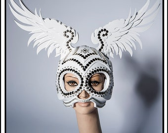 Angel of Light…. Skull Helmet with Wings In Silver and White Headdress
