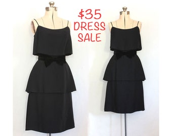 SALE! Vintage 80s Tiered in Lushness Gorgeous Little Black Dress With Black Velvet Bow