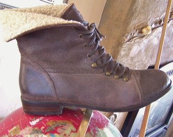 Ankle Boot, Leather Boot, sheared Fleece Boot, Ankle Bootie,  size 10
