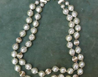 Vintage Double Strand Beaded Necklace in Gold and White