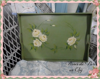 SALE!!  Vintage tole tray Wood TRAY  RARE jadite green and white roses  Shabby Cottage Chic