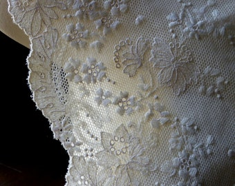 Ecru  Lace Cotton Embroidered from France for Bridal, Lingerie, Costume Design  CH 434