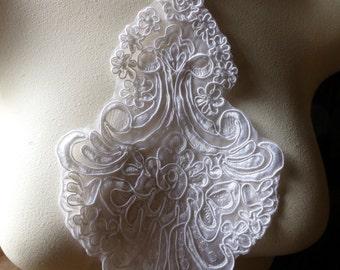 WHITE Lace Applique in Alencon Lace for Bridal, Headbands, Sashes, Costume Design WA 403