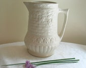Vintage Pitcher in White Woven Basket Pattern by RRP Co. Roseville, Ohio 320