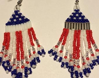 Patriotic Seed Bead Earrings