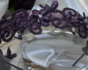 Plum Lace Wedding Headband,Wedding Headband,Rhinestone Headband,Bridal Fascinator,Wedding Accessories,Bridal Lace Headband,Bridal Headband