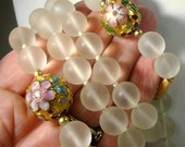 Frosted Clear GLASS Bead Necklace w Cloisonne Enamel Flowered Gold Bead Focals, Hand Knotted, Asian Elegance,  1980s Traditional Design