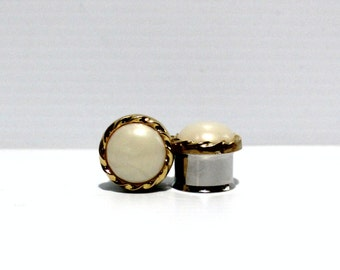 "Classic Gold Pearl Wedding Plugs 5/8"" 3/4"" 16mm 19mm"