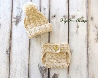 Newborn Baby Boy Pom Pom Hat and Diaper Cover Set Light Khaki