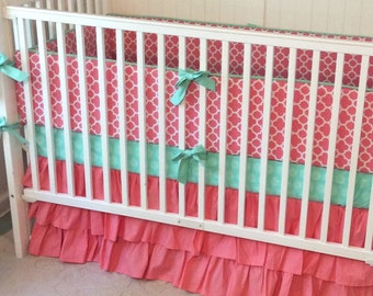 Crib Bedding Set in Mint and Coral Ruffles
