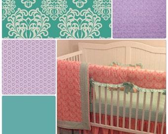 Crib Bedding Set Purple Teal Ruffled Bumperless