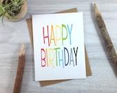 Happy Birthday Card, Rainbow Greeting Card, Celebration Card, Typography - single
