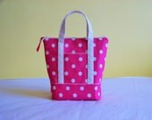 BIBLE TOTE Bible Bag Perfect size for your Bible Journal Study Guides. Zippered Pink with creamy dots
