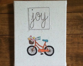 "Wall hanging, wall art, wrapped canvas Joy Orange Bicycle Inspirations Wall Art - fabric wrapped canvas 8""x10"" - free motion embroi"