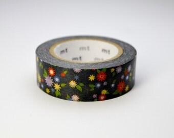 mt washi masking tape - mt ex - 2015 S/S - small flowers - black