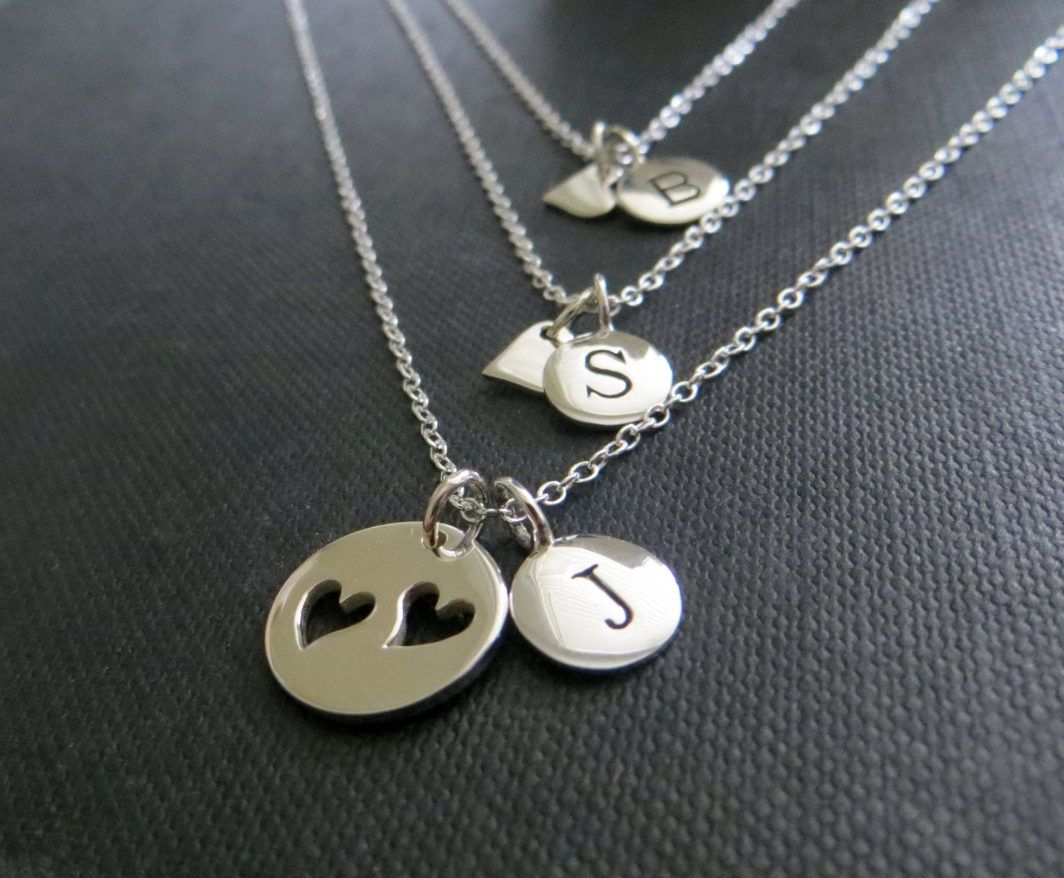 personalized mother daughter necklace mother two daughters. Black Bedroom Furniture Sets. Home Design Ideas