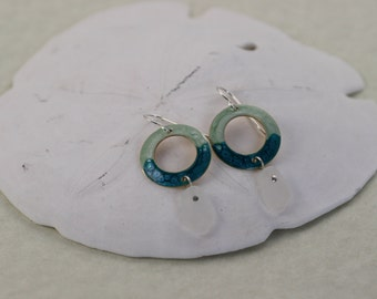 Green and Turquoise Pebeo Painted Earrings with Natural White Sea Glass Drops