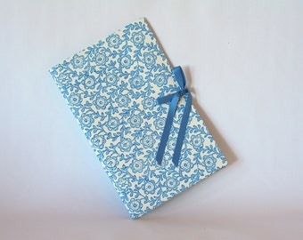 Blank book journal chapbook-blue flower and vine Italian stencil print-(6x9in.)-Ready to ship